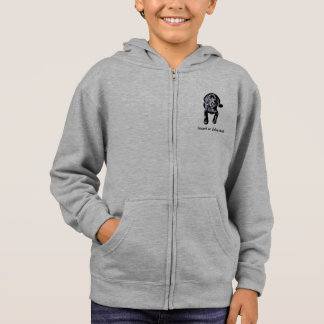 Kid's zip hoodie sweatshirt black lab puppy