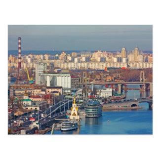 Kiev bussines and industry city landscape on river postcard