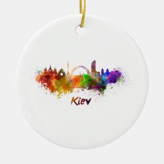 Kiev skyline in watercolor round ceramic decoration
