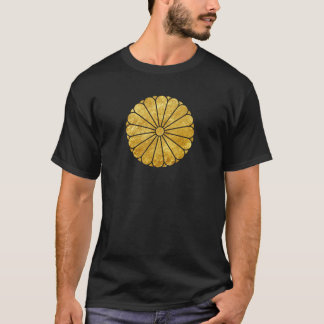 Kiku Chrysanthemum Mon faux gold on black T-Shirt