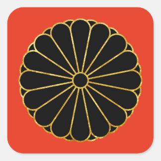 Kiku Chrysanthemum Mon gold black on red Square Sticker