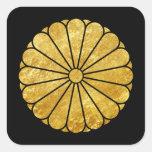 Kiku Chrysanthemum Mon gold on black Square Sticker