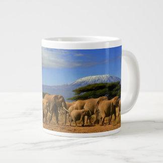 Kilimanjaro And Elephants Large Coffee Mug