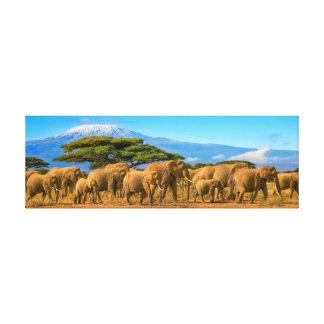 Kilimanjaro Tanzania African Elephants Safari Keny Canvas Print