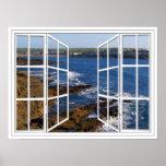 Kilkee Ireland White 24 Pane Open Window Poster