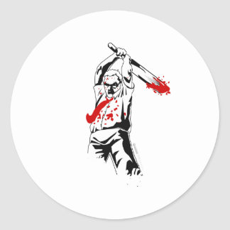 Kill The Zombies - Dead Cricket Bat Shirt Round Sticker