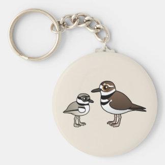 Killdeer & chick basic round button key ring