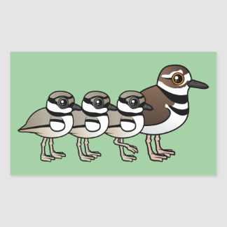 Killdeer & three chicks rectangular sticker