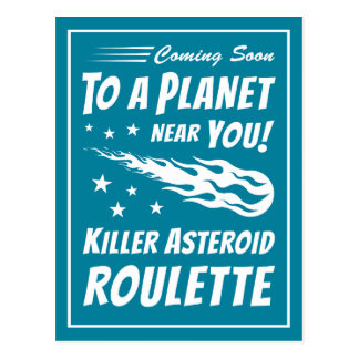 Killer Asteroid Roulette - Geek Astronomy Postcard