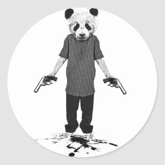 Killer panda classic round sticker