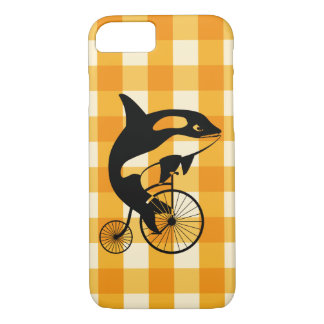 Killer Whale, Orca Riding a Penny Farthing Bike iPhone 8/7 Case