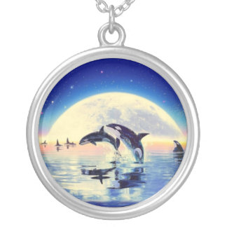 Killer Whale Orca Silver Plated Necklace