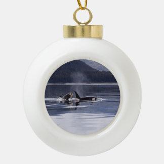 Killer Whales Ceramic Ball Christmas Ornament