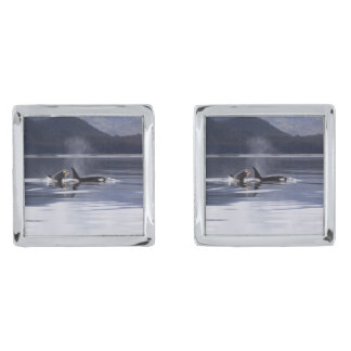 Killer Whales Silver Finish Cufflinks