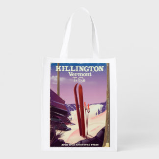 Killington, Vermont Ski travel print. Reusable Grocery Bag