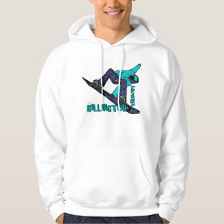 Killington Vermont teal snowboarder guys hoodie