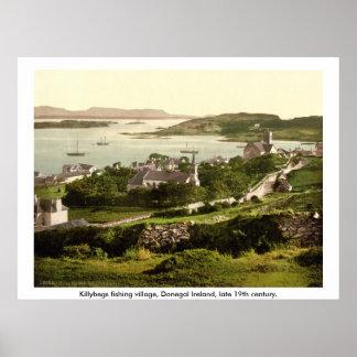 Killybegs Village, Vintage Donegal Ireland Poster