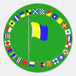 "Kilo Nautical Signal Flag ""I wish to communicate"" Classic Round Sticker"