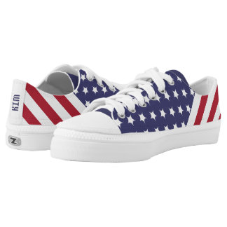 Kim American Style Flag Stars Lines Canvas Shoes Printed Shoes