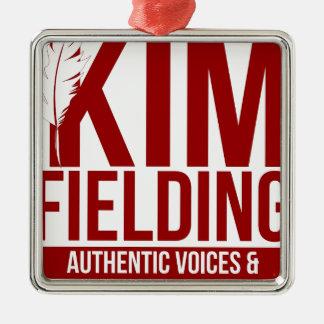 Kim Fielding logo Silver-Colored Square Decoration