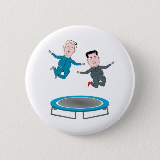 Kim Jong Un and President Trump Trampolone 6 Cm Round Badge