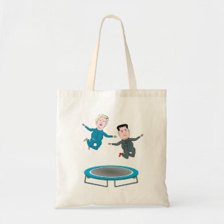 Kim Jong Un and President Trump Trampolone Tote Bag