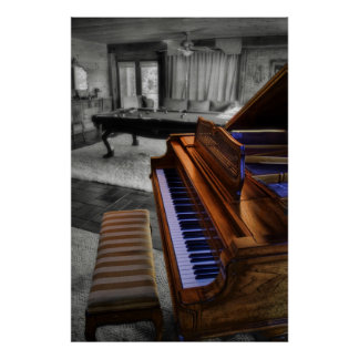 Kimball Piano on black and white Poster