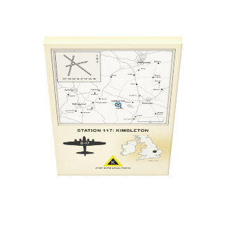 Kimbleton Airfield, England Map, 379th Bomb Group Canvas Print