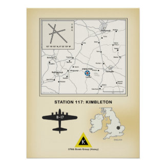 Kimbleton Airfield, England: Map, 379th Bomb Group Poster