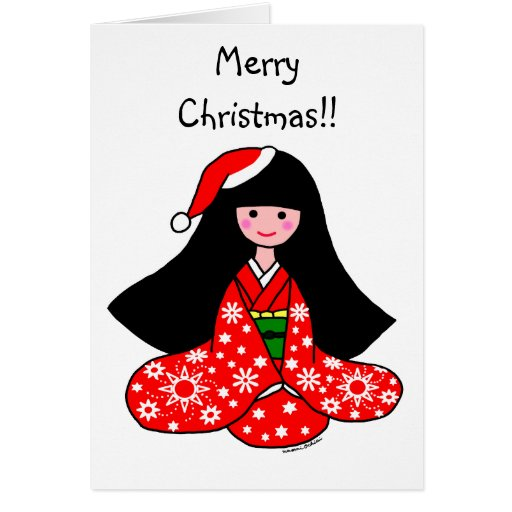 Kimono Girl Christmas Cartoon Illustration Greeting Card