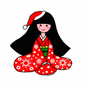 Kimono Girl Christmas Cartoon Illustration Standing Photo Sculpture