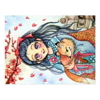 Kimono Girl Holding Little Fox Postcard