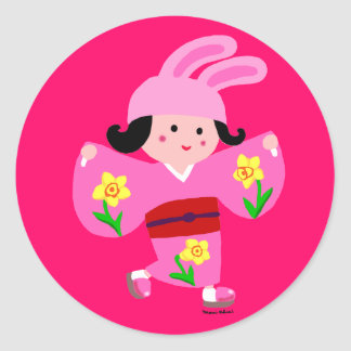 Kimono Girl Usagi Classic Round Sticker