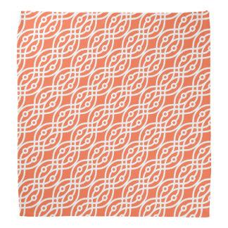 Kimono print, coral orange and white head kerchief