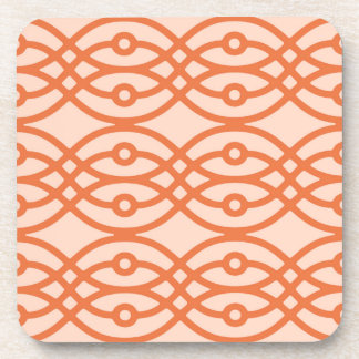 Kimono print, coral orange beverage coasters