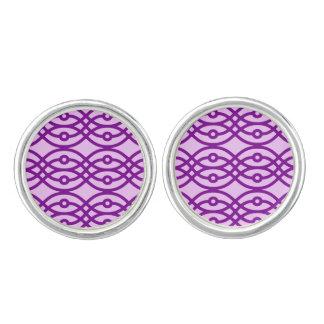 Kimono print, lavender and purple cuff links
