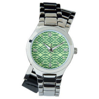 Kimono print, light & dark green watch