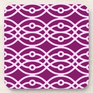 Kimono print, plum and pink beverage coaster