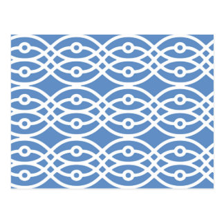 Kimono print, sky blue and white postcard