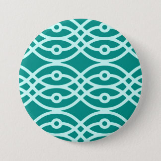 Kimono print, turquoise and aqua 7.5 cm round badge