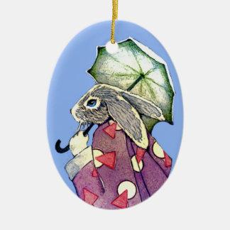 Kimono Rabbit w Parasol Ornaments