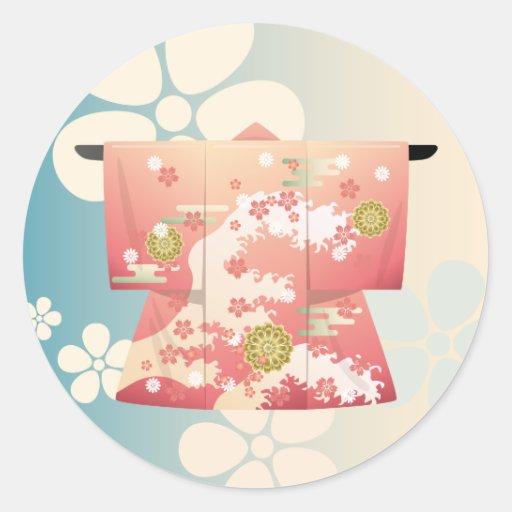 Kimono Round Sticker