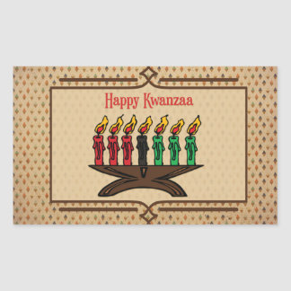Kinara, Happy Kwanzaa Rectangular Sticker