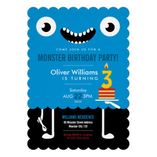 Kind Blue Monster Kids Birthday Party Invite