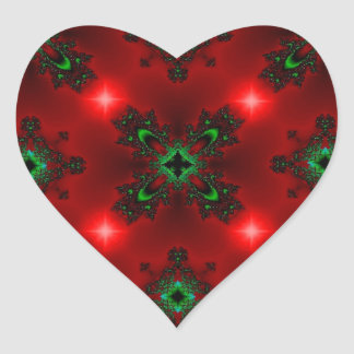 Kind Deco in Retro styles green red with asterisks Heart Sticker