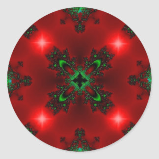 Kind Deco in Retro styles green red with asterisks Round Sticker