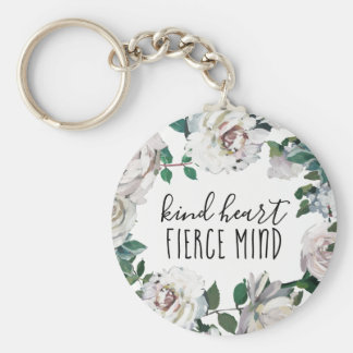 Kind Heart Fierce Mind Watercolor Floral Keychain