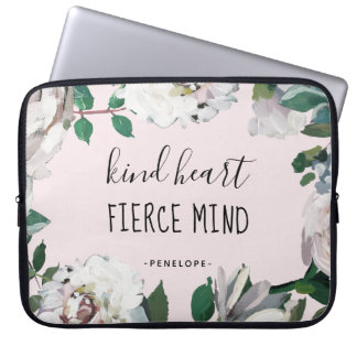 Kind Heart Fierce Mind Watercolor Floral Laptop Sleeve