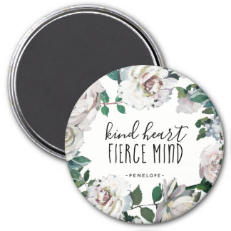 Kind Heart Fierce Mind Watercolor Floral Magnet