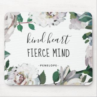 Kind Heart Fierce Mind Watercolor Floral Mousepad